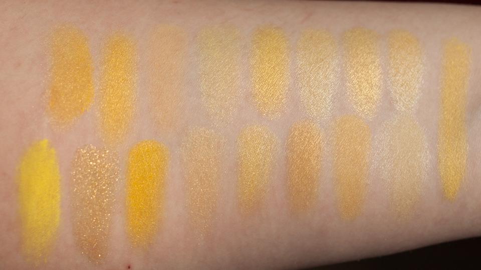 Yellow Eyeshadow Swatches: Daylight