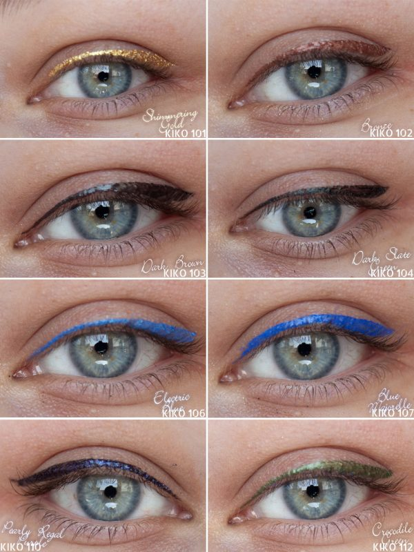 KIKO Super Colour Eyeliner Liquid Liner Eye Swatches