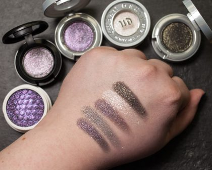 URBAN DECAY Ether Moondust Eyeshadow Scorpio Cosmic MAC Say It Isnt So Dazzleshadow Swatches