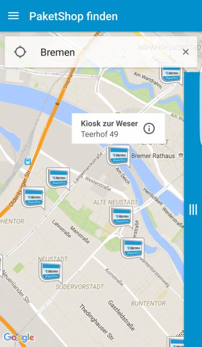 HERMES App: Kiosk-Suche