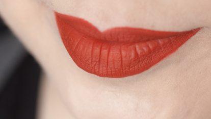 LIME CRIME Pumpkin Velvetines Matte Liquid Lipstick Swatch Face