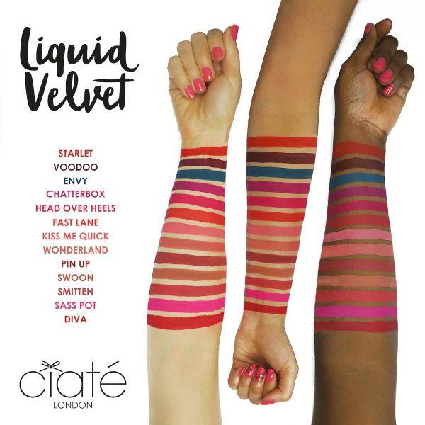 CIATE LONDON Liquid Velvet Matte Lip Slick Arm Swatches