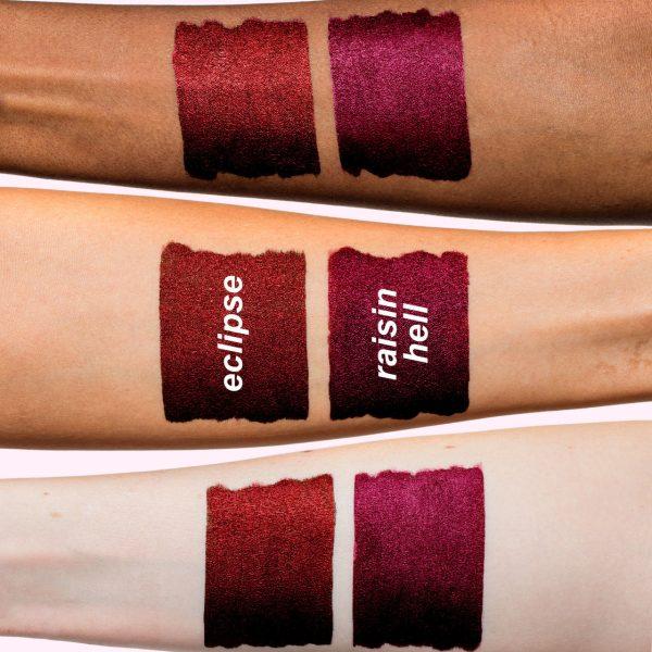 LIME CRIME Metallic Velvetines Liquid Lipstick Swatches Eclipse Raisin Hell
