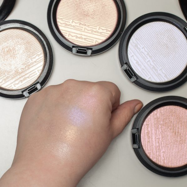 MAC Extra Dimension Skinfinish Highlighter Double-Gleam - Beaming Blush - Soft Frost - Show Gold Swatches flash