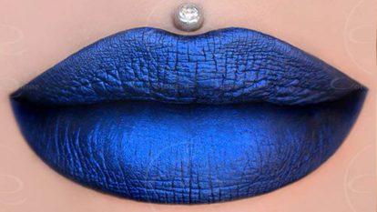 Metallic Blue Lips COLORED RAINE Blue Dragon Liquid Lipstick Makeup