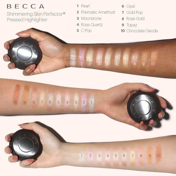 BECCA Shimmering Skin Perfector Swatches Comparison Vergleich Highlighter deutsch Review