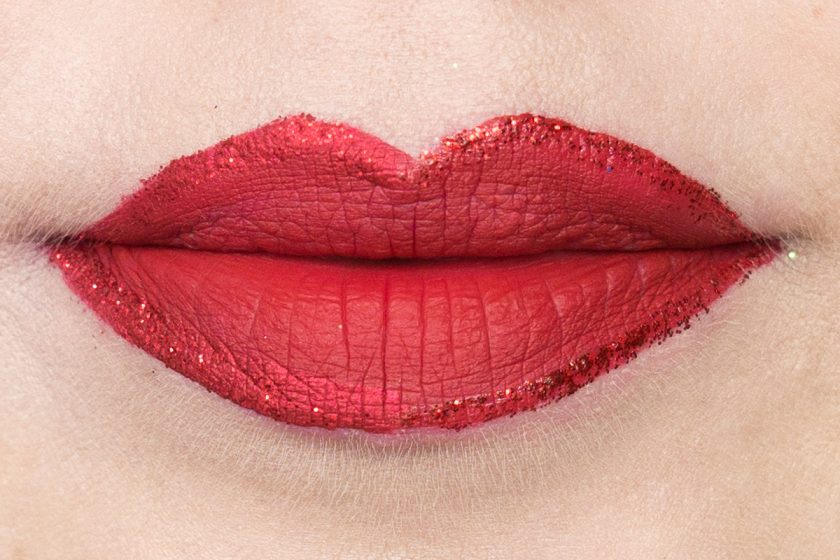 Glitter Lipliner: LIT Fire Cracker & LIME CRIME Red Velvet