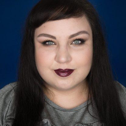 essence Purple Pistol Metal Shock Lipstick Portrait