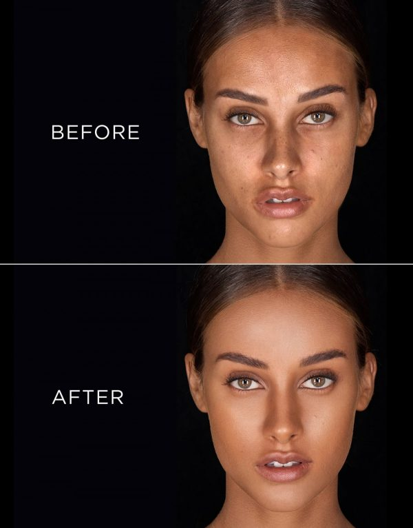 HOURGLASS Vanish Seamless Finish Liquid Foundation before after tan