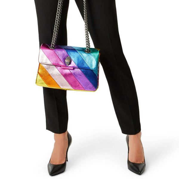 KG by KURT GEIGER Leather Kensington Rainbow Bag Regenbogen Purse Tasche Size