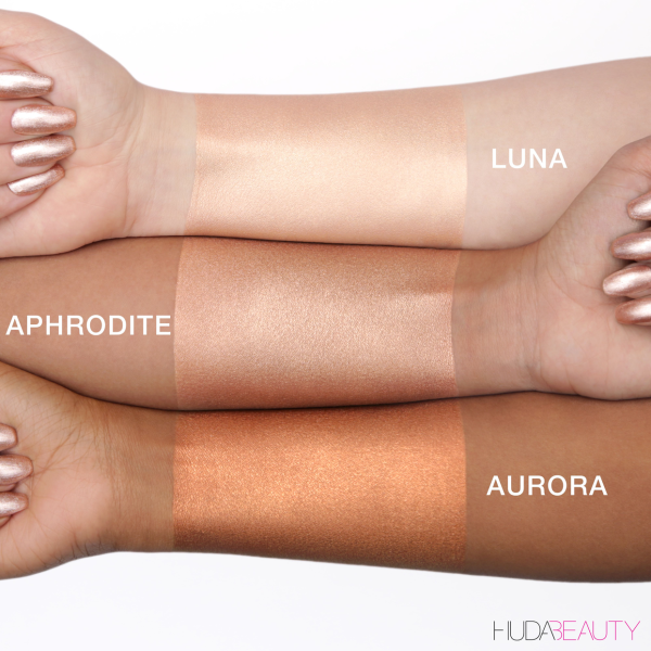 HUDA BEAUTY NYMPH Not Your Mamas Panty Hose Liquid Body Illuminator Swatches