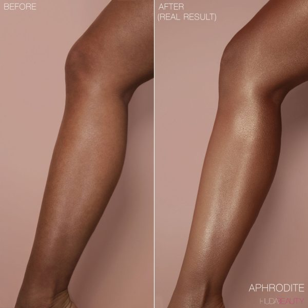 HUDA BEAUTY NYMPH Not Your Mamas Panty Hose Liquid Body Illuminator before after
