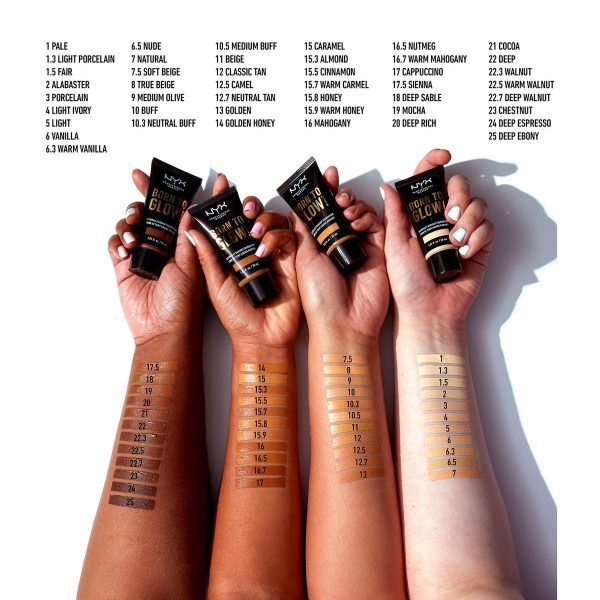 NYX Born to Glow Foundation Makeup Swatches Vergleich Farben