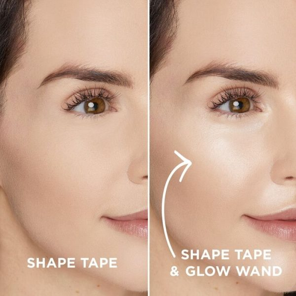 TARTE Shape Tape Glow Wand Highlighting Concealer with without