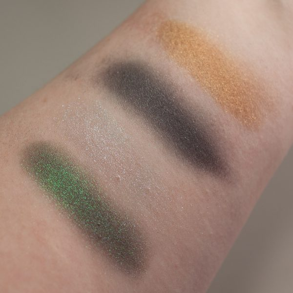LINDA HALLBERG Enchanted Mysteries Eyeshadow Palette Quad Multichrome Swatches blended Shimmer