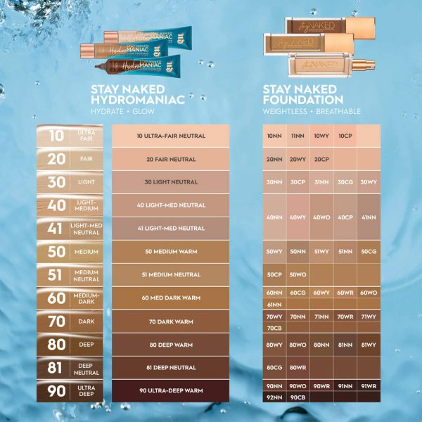 URBAN DECAY Stay Naked Hydromaniac Tinted Glow Hydrator Shades compared