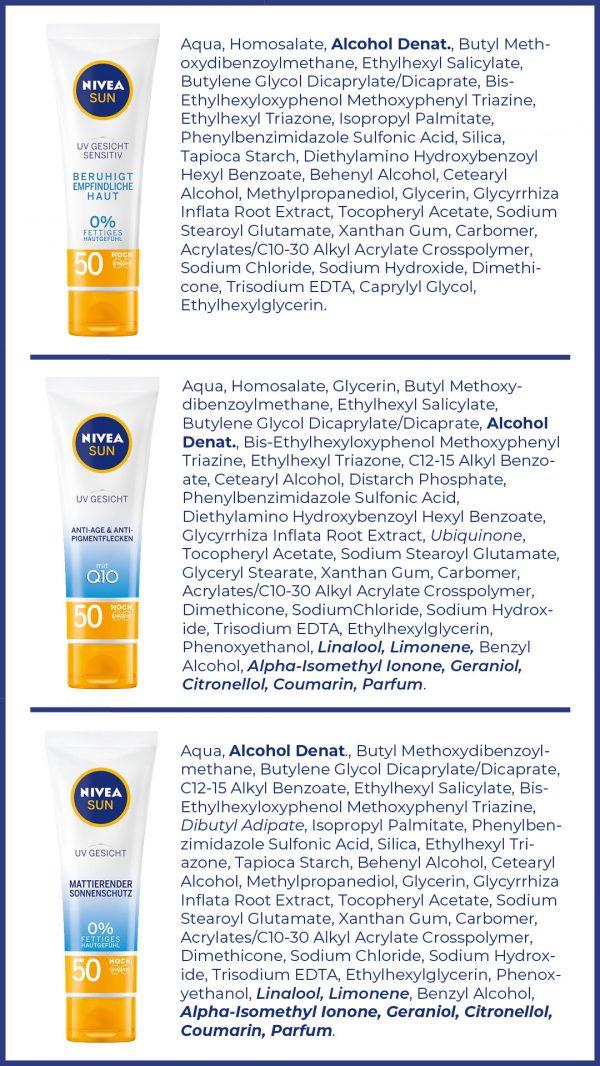 NIVEA SPF50 Sonnenschutz Unterschied sensitiv mattierend anti-aging Inhaltsstoffe INCI