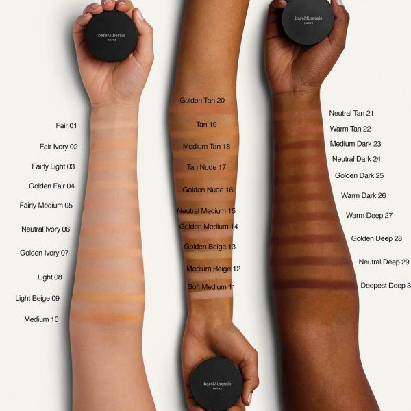 BARE MINERALS Matte Foundation SPF 15 Mineral Makeup Swatches Shades Colors welche Farbe
