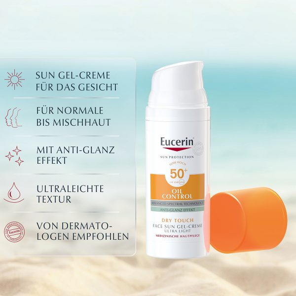 EUCERIN Oil Control Face Sun Gel-Creme SPF 50 plus Sonnenschutz Sonnencreme Sunscreen kaufen bestellen Erfahrungen ölige Haut mattierend Promo