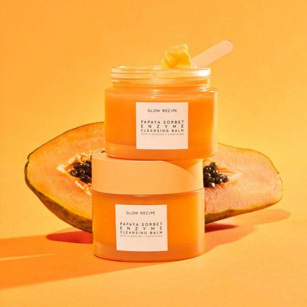 GLOW RECEIPE Papaya Sorbet Enzyme Cleansing Balm Oil Jar Ambient