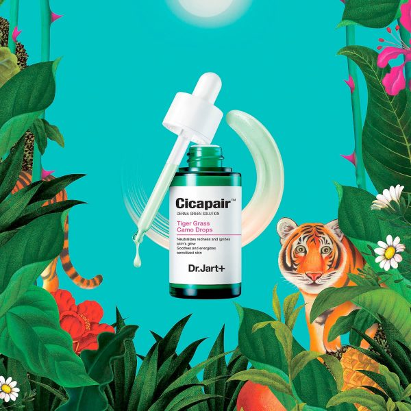 DR. JART Cicapair Tiger Grass Camo Drops Derma Green Solution Color Correcting Soothing Fluid SPF 20 PA++ Sunscreen Visual