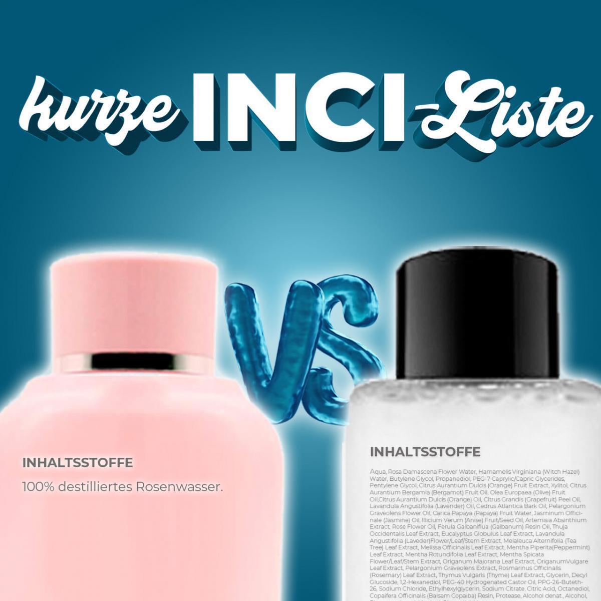 kurze INCI Liste Inhaltsstoffliste wenige Inhaltsstoffe besser Skincare Hautpflege minimalistisch Extrakte Hydrolate The Ordinary Rosence Rosenwasser