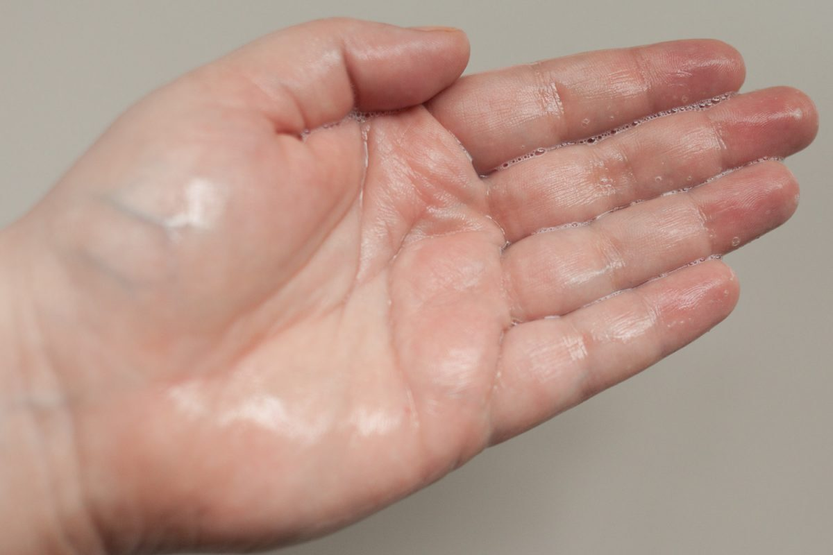 Reinigungsgel richtige Menge korrekte Dosierung aufgeschäumt milde Reinigung reizarm