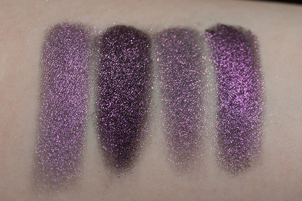 MAC Pinkluxe Glitter Young Punk TOO FACED Poison Orchid FYRINNAE Alchemist Coarse feucht Tageslicht frontal