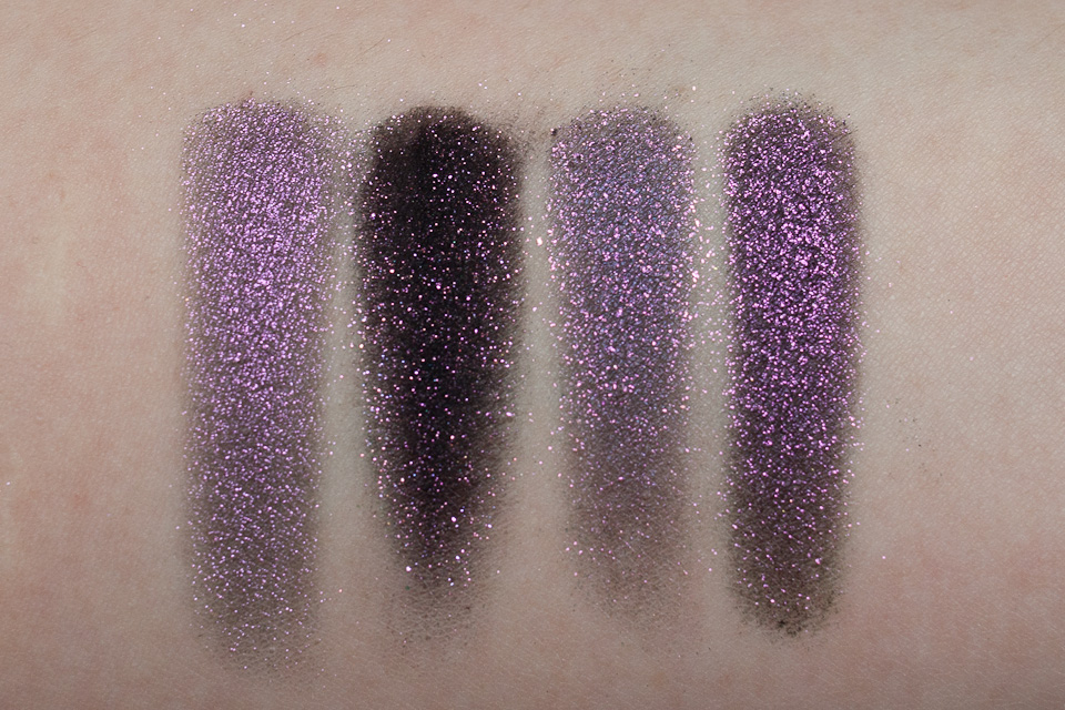 MAC Pinkluxe Glitter Young Punk TOO FACED Poison Orchid FYRINNAE Alchemist Coarse trocken Tageslicht frontal
