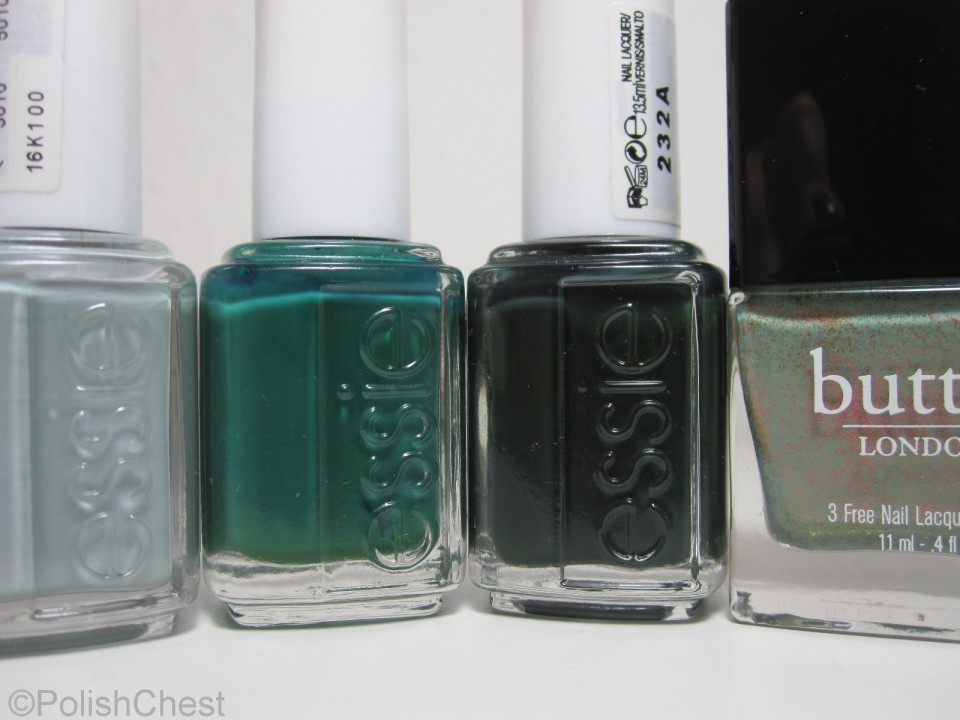 essie - Maximillian Strasse Her | essie - Going Incognito | essie - Stylenomics | butterLONDON - Two Fingered Salute
