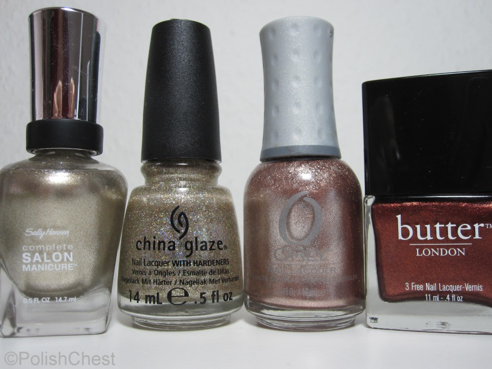 Sally Hansen - Coat of Arms | China Glaze - I'm not Lion | ORLY - Rage | butterLONDON - Shag