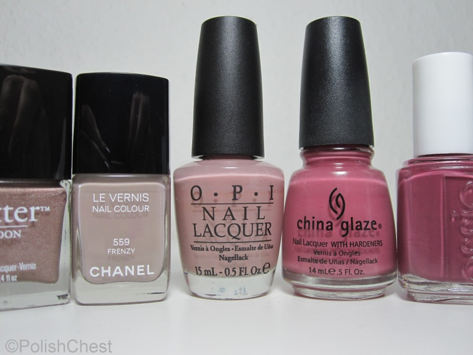 butterLONDON - All Hail the Queen | Chanel - Frenzy | OPI - Tickle My France-y | China Glaze - Fifth Avenue | essie - Angora Cardi